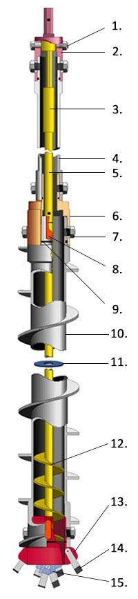 Hollow Stem Auger (HSA) Hexdrive Cutaway